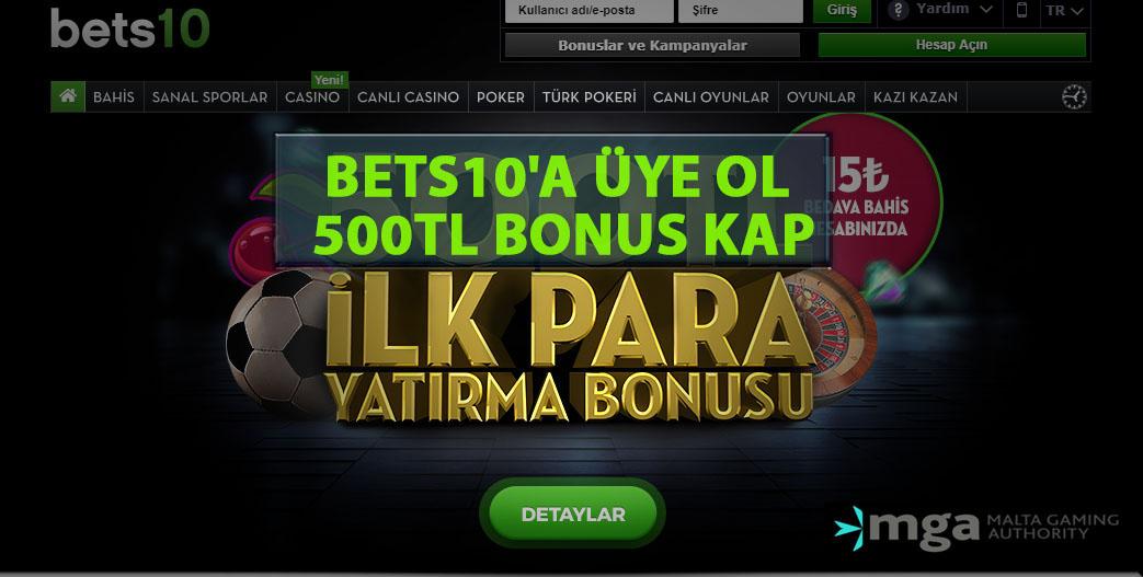 Bets10'a Üye Ol 500TL Bonus Kap
